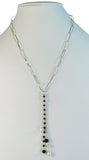 Onyx and pearls on chain on long loops of sterling silver necklace