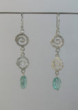 Double swirl and apatite earring