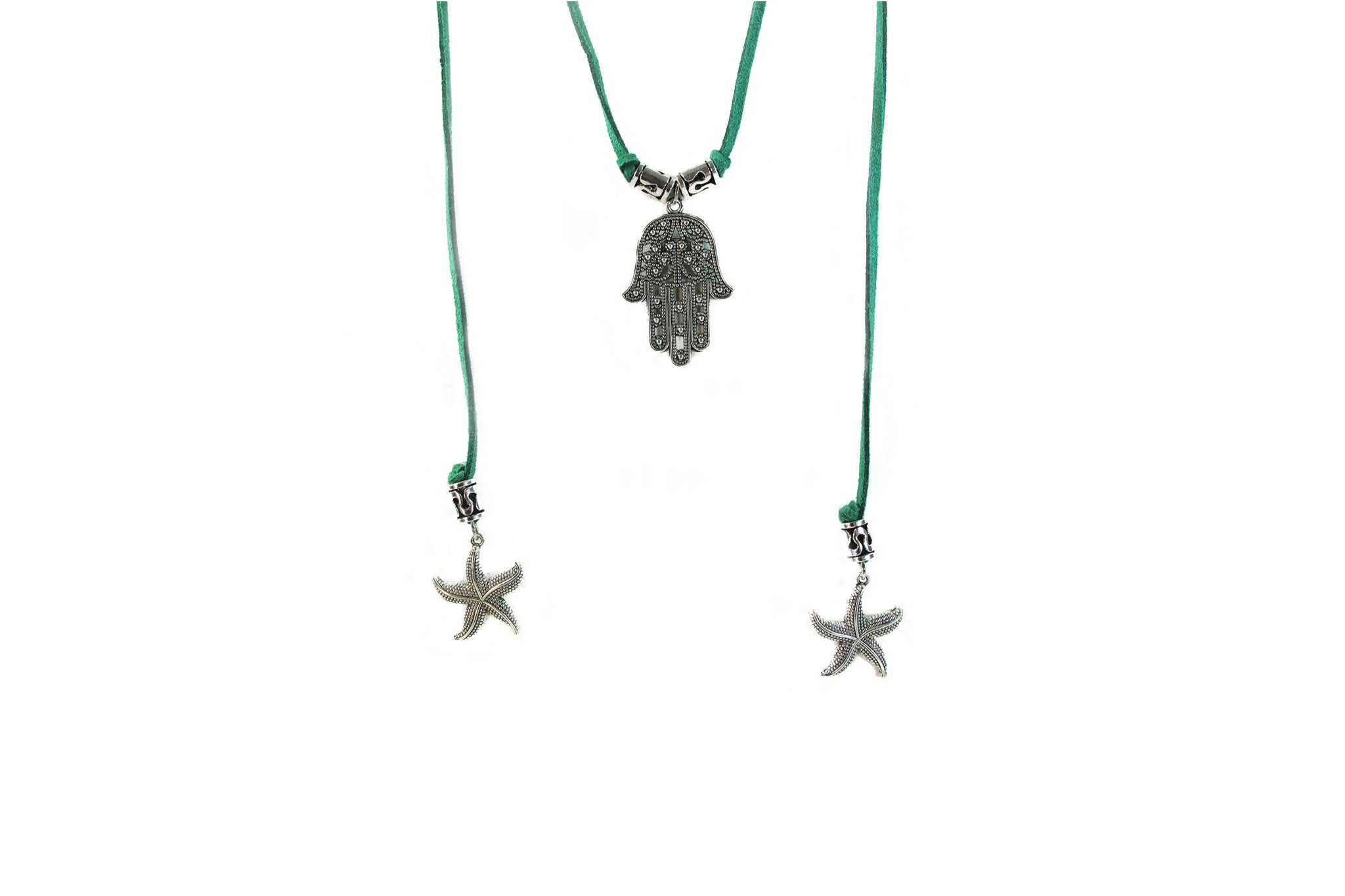 Hamsa swinging with starfish-green