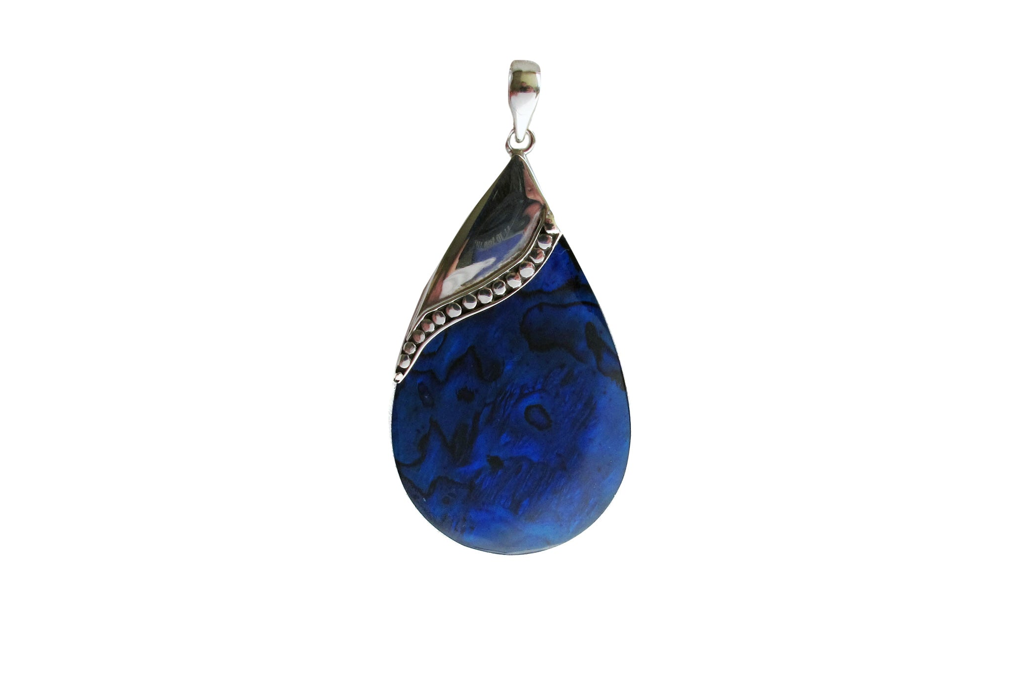 Blue resin drop silver dots - Agabhumi