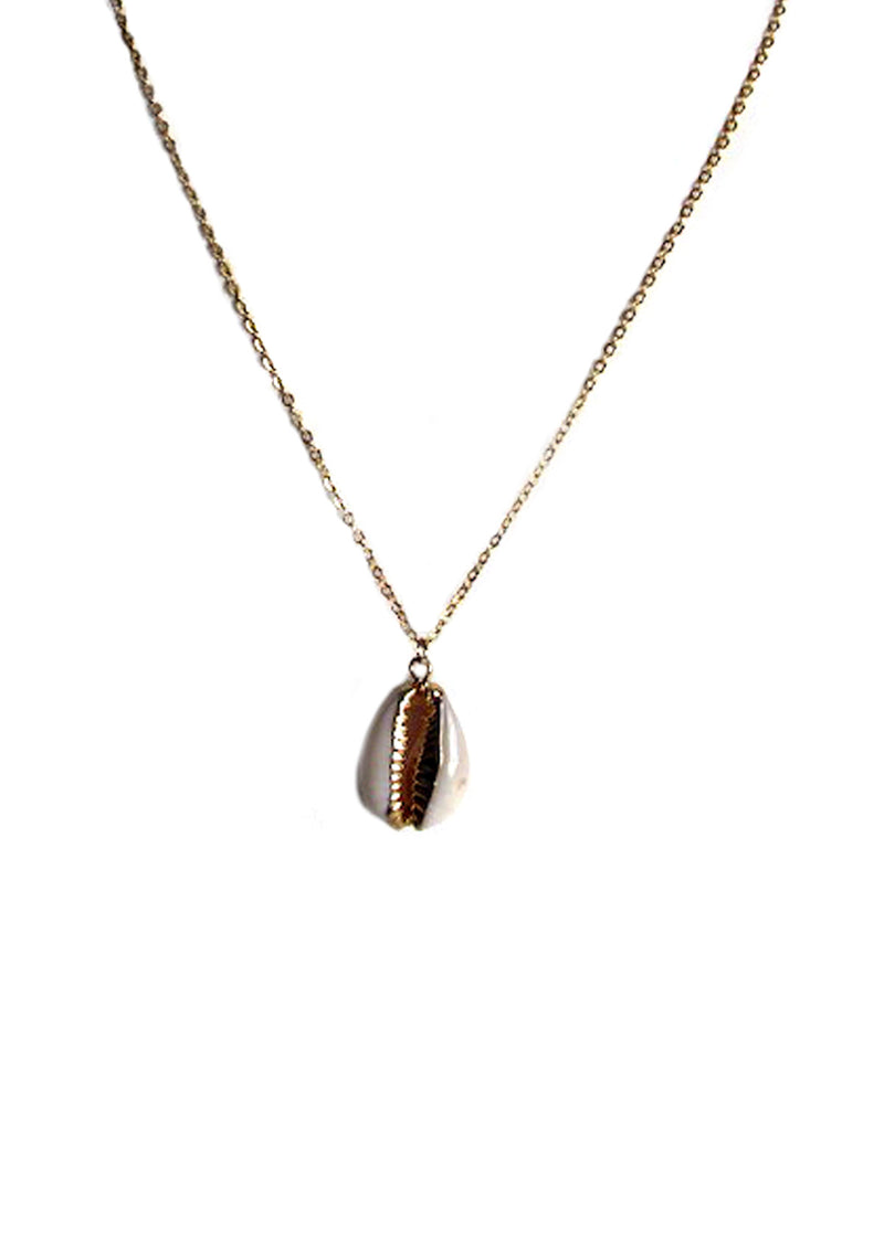Gold-tone mollusk shell necklace