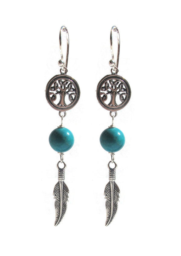 Tree feather Howlite earring