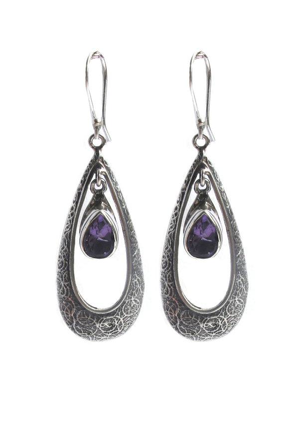 Amethyst drop in ornate silver drop