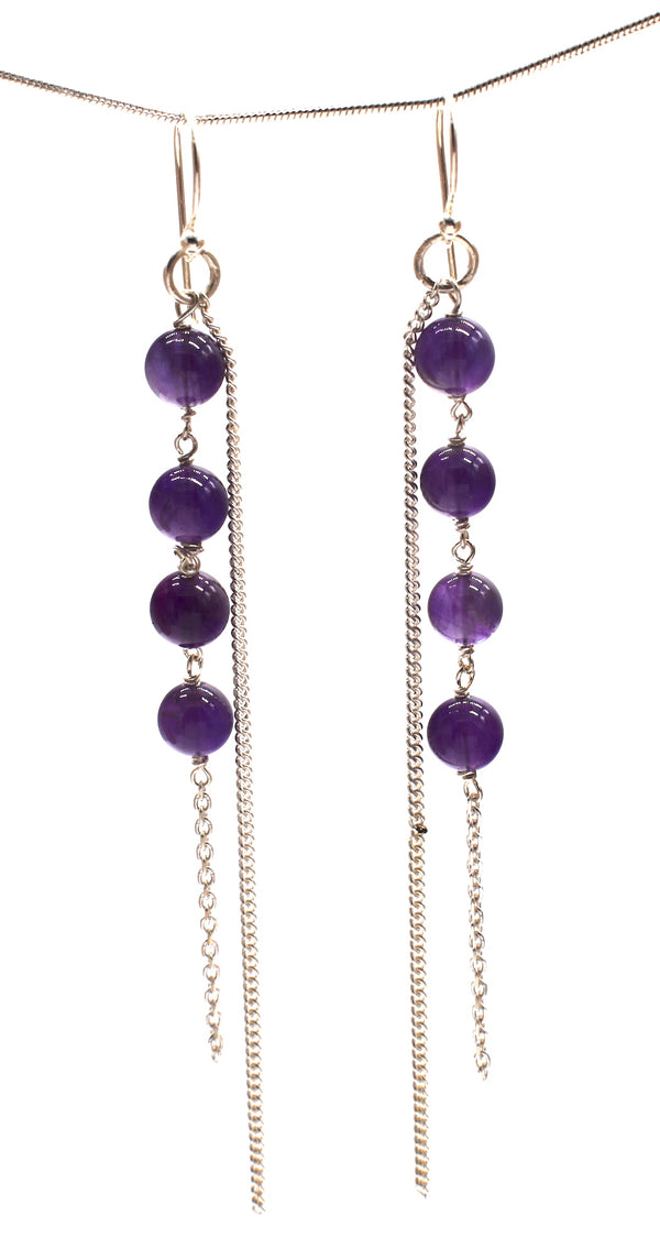 Amethyst ball and chains of silver