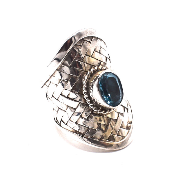 Blue topaz oval in woven sterling silver