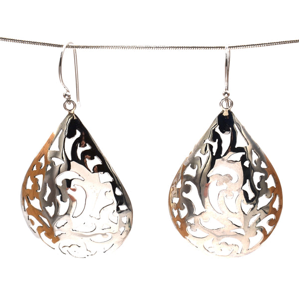 Sterling silver leafy drop