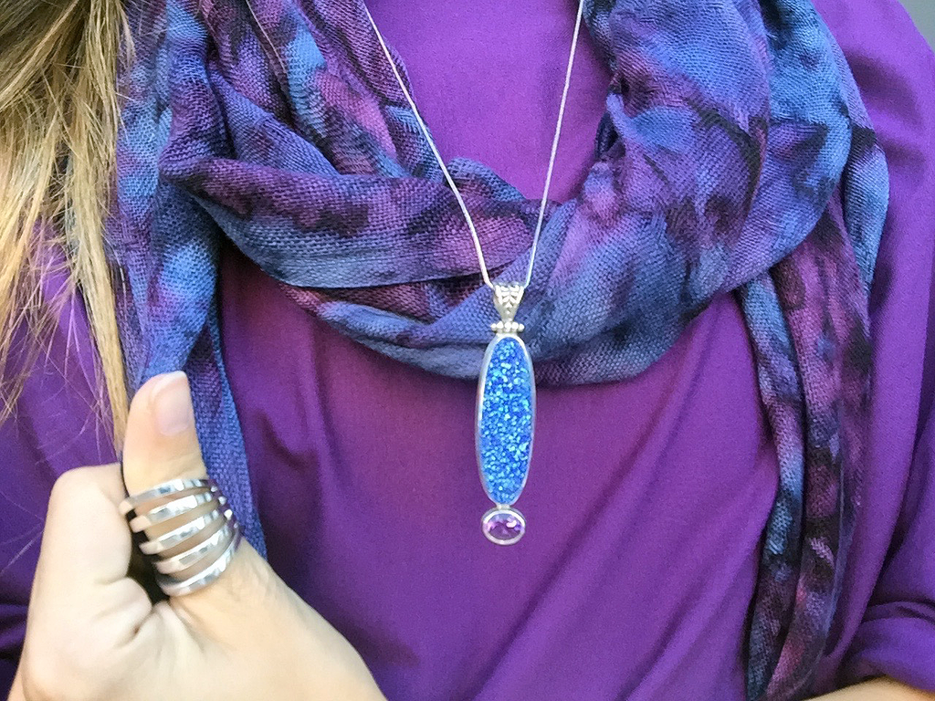 Long Oval Druzy Pendant with oval Amethyst set in Sterling Silver