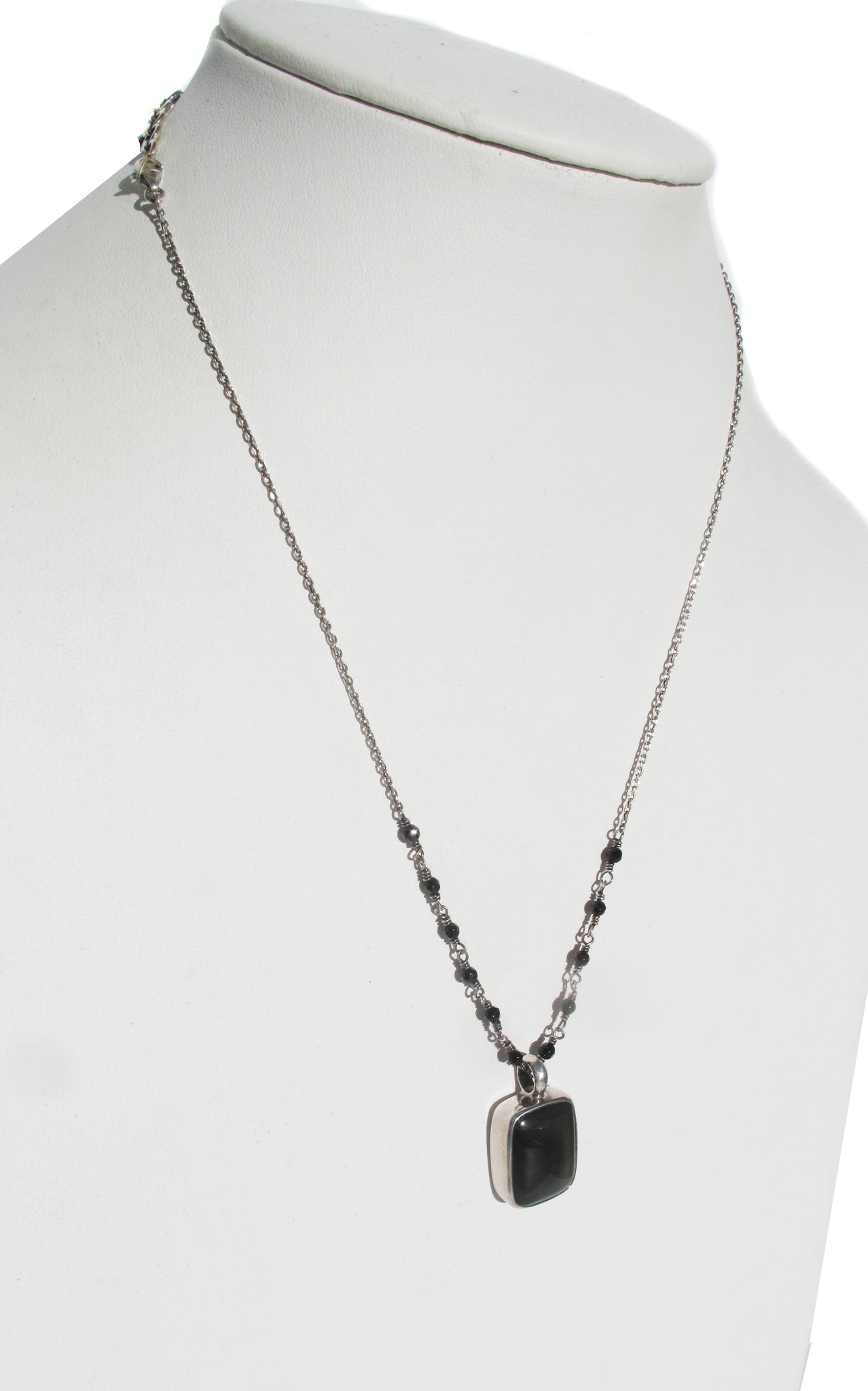 Obsidian on silver and agate necklace