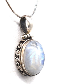 Moonstone oval in dotted sterling frame26