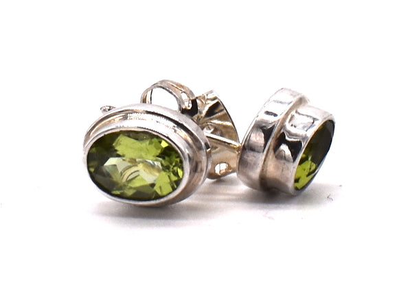 Peridot studs in silver frame