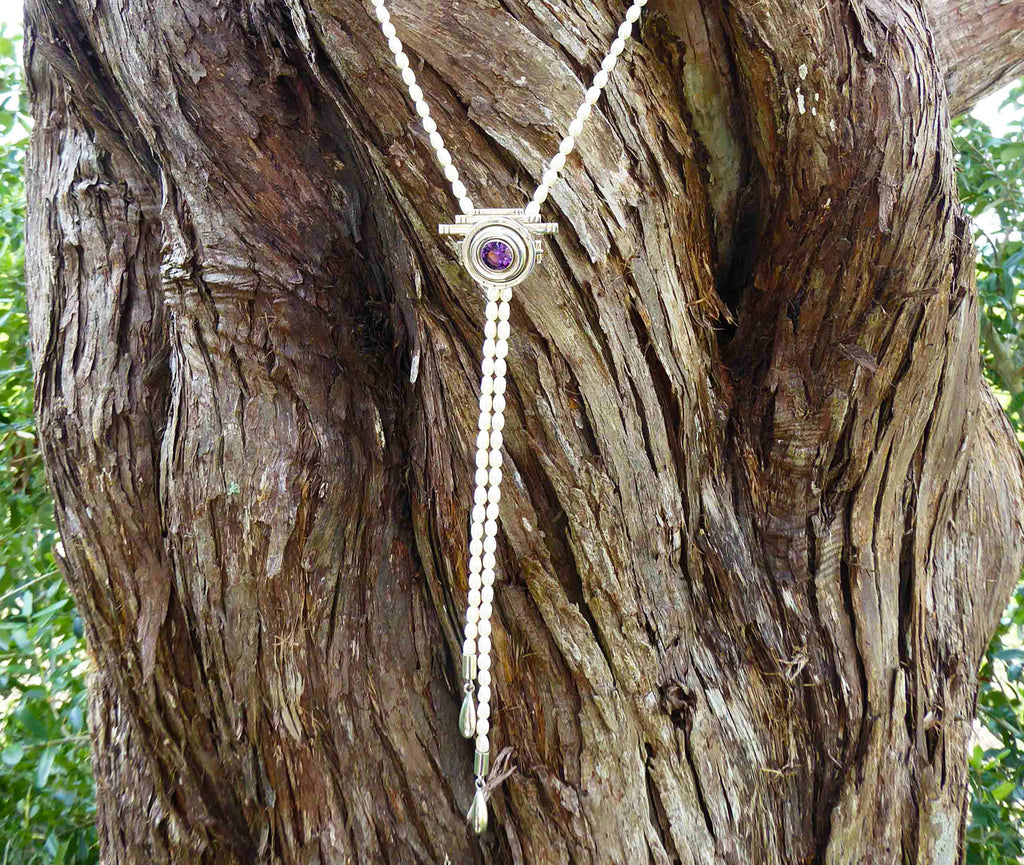 Amethyst in Pearl necklace