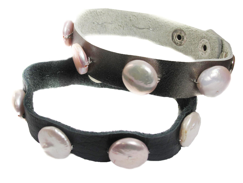 BCA Coin pearl on leather bracelet - Agabhumi