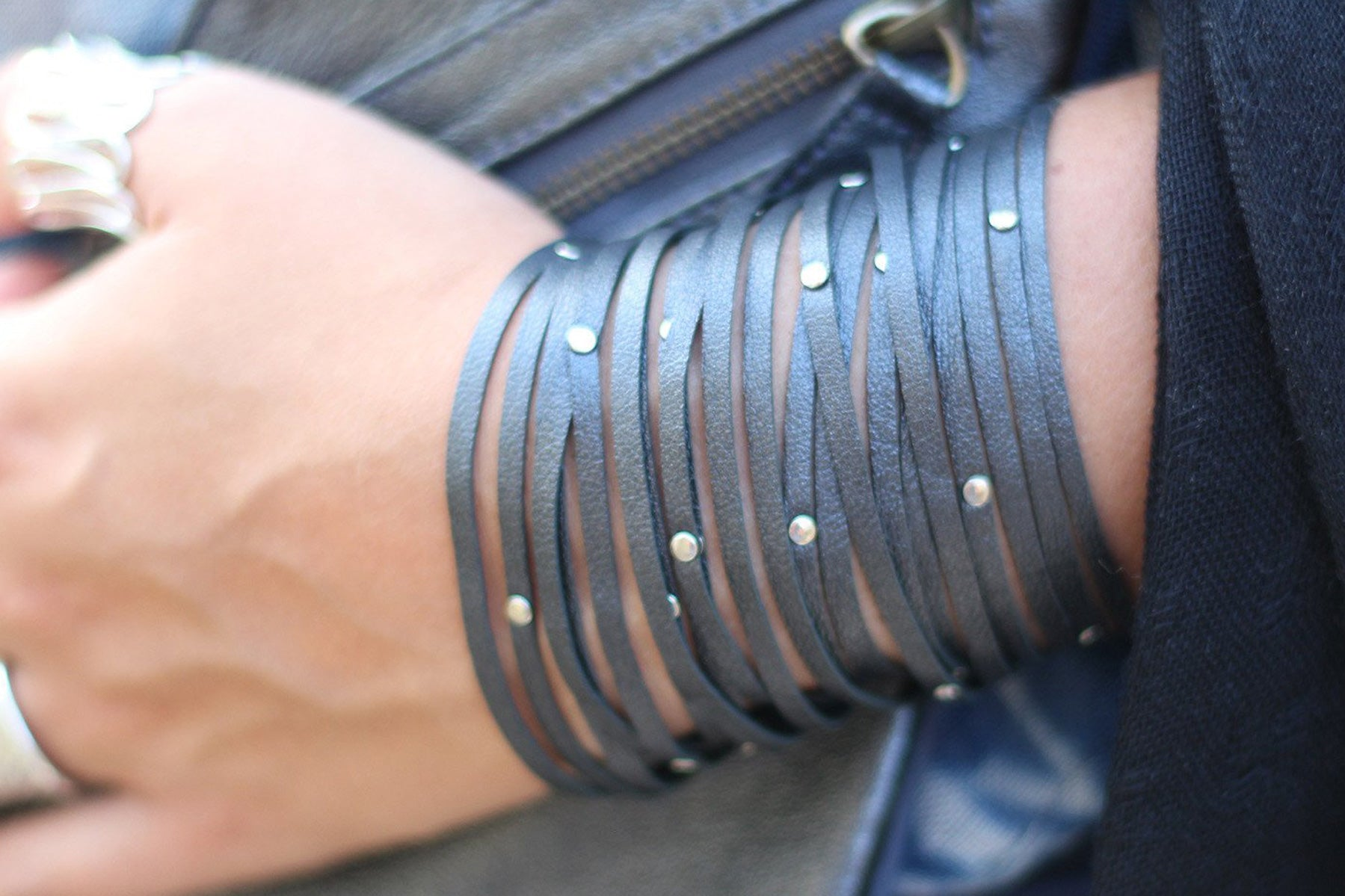 Shredded biker cuff