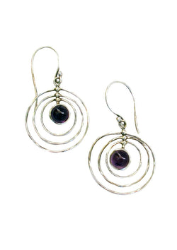 Amethyst in concentric circles of silver - Agabhumi