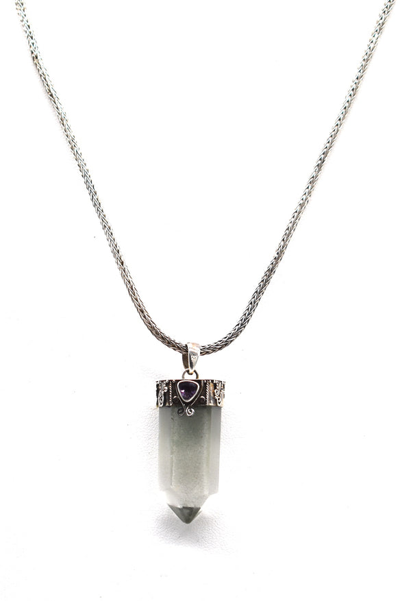 Crystal with triangle of amethyst