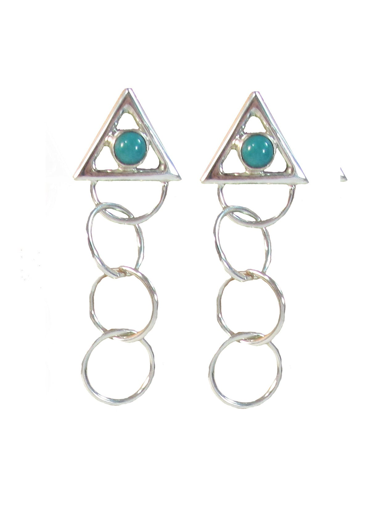3 ring circles with turquoise earrings