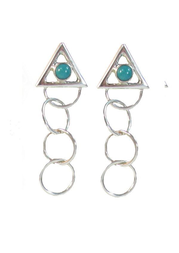 3 ring circles with turquoise earrings - Agabhumi