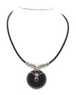 Onyx Labyrinth on silver embellished rubber necklace