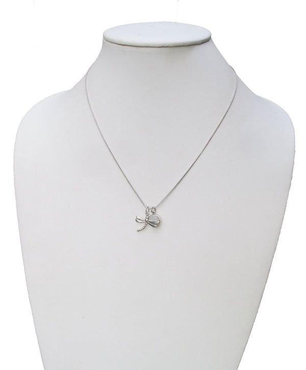 Sterling necklace with dragonfly and MOP charm - Agabhumi