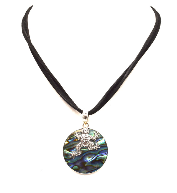 Silver frog on circle of Abalone