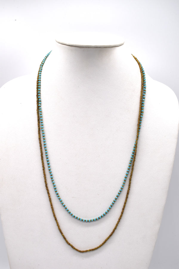 Turq and gold metallic bead necklace
