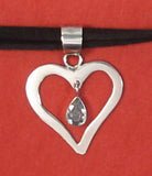 Sterling silver heart with CZ drop - Agabhumi