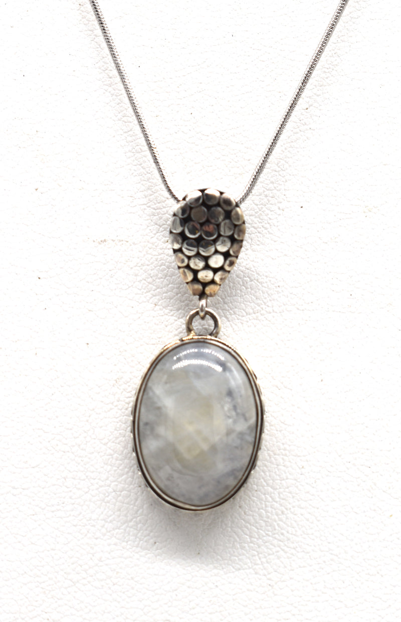 Moonstone oval with dot silver bale