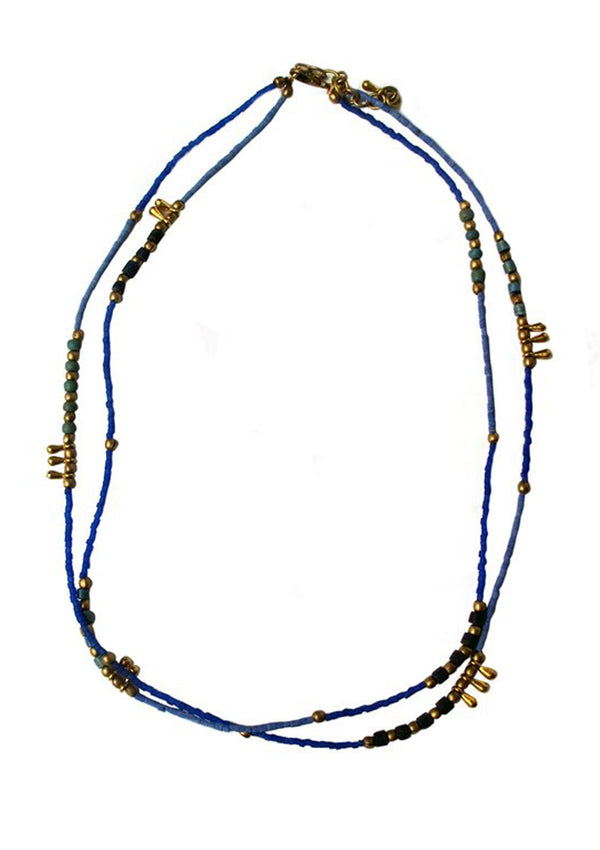 Blue and brass beads - Agabhumi