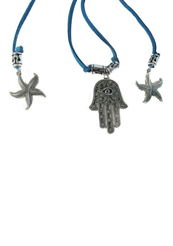 Hamsa swinging with starfish Teal