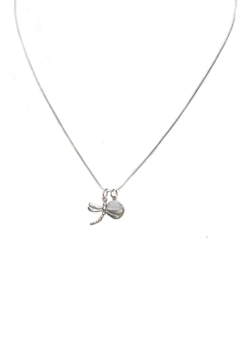 Sterling necklace with dragonfly and MOP charm
