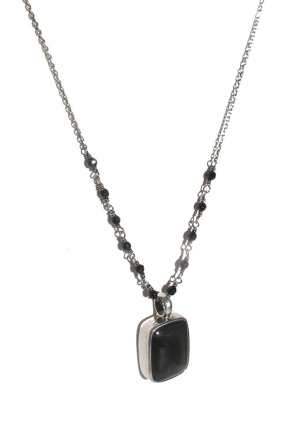 Obsidian on silver and agate necklace - Agabhumi