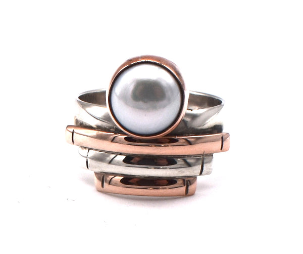 Pearl in deco copper/silver setting