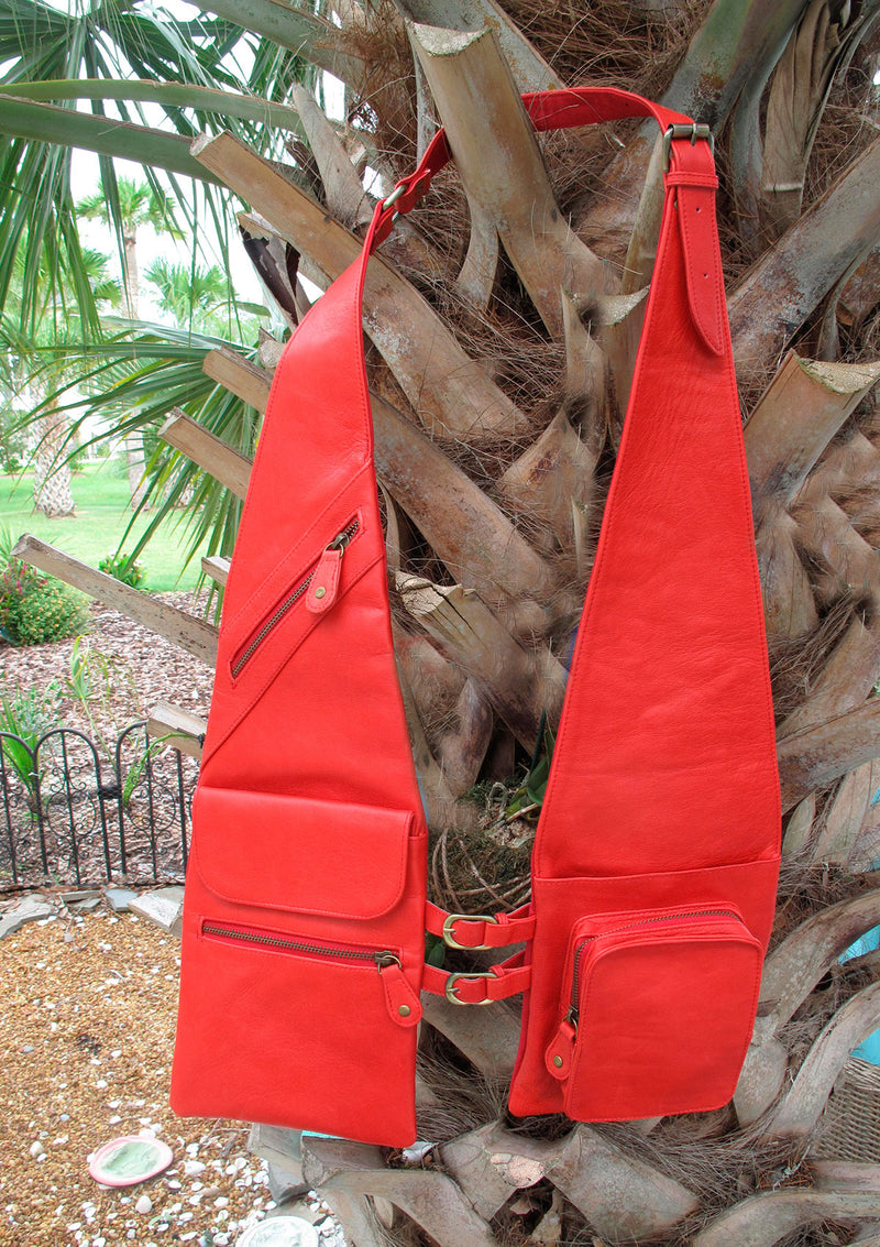 Red Shoulder Shopper Covered Pocket
