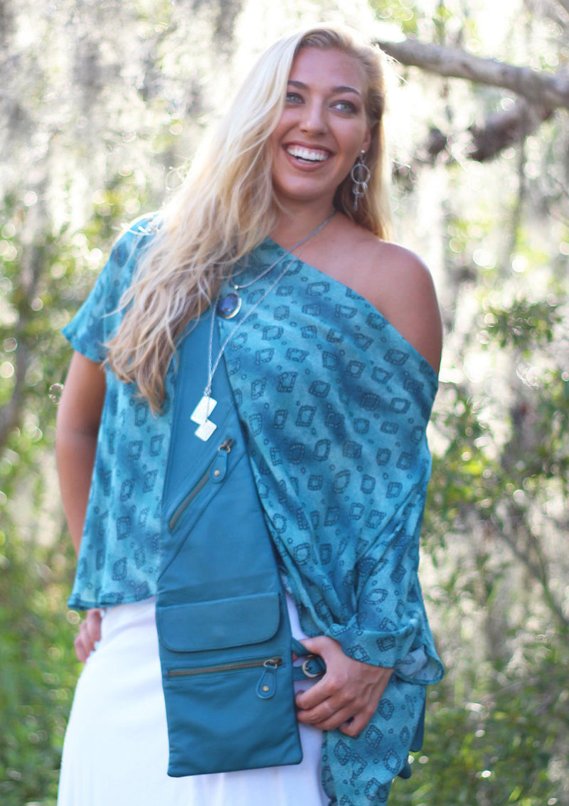 Teal blue Shoulder Shopper Covered Pocket