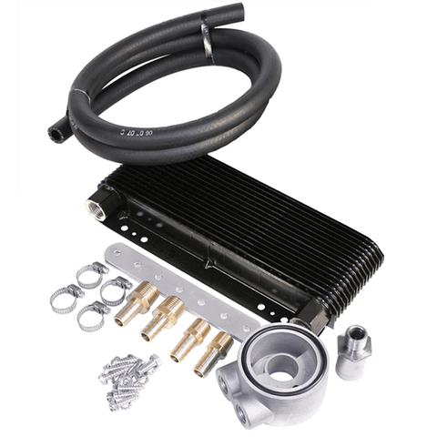 24-Plate Oil Cooler Kit w/Sandwich Adapter - AA Performance Products