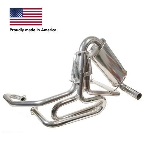 Tri Mil Exhaust, Bobcat, 1-1/2 Standard Header with Quiet-Pac, Ceramic Coated - AA Performance Products