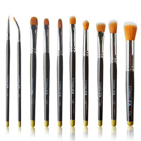 FX FULL BRUSH SET (INCLUDING ALL 10 BRUSHES, ZIP-UP POUCH & MIXING PALETTE) Titanic FX - Backstage Cosmetics Canada