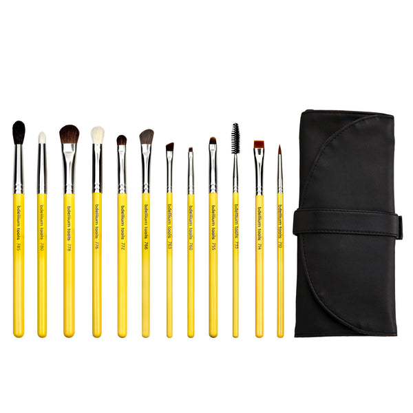 Studio Eyes 12pc. Brush Set with Roll-up Pouch Bdellium Tools - Backstage Cosmetics Canada