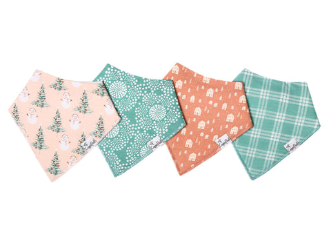 Copper & Pearl 4 Pack Bandana Bibs, Jane Pink Holiday