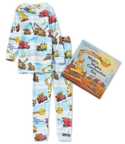 Books to Bed Pajamas & Hard Cover Book - Might Mighty Construction Site