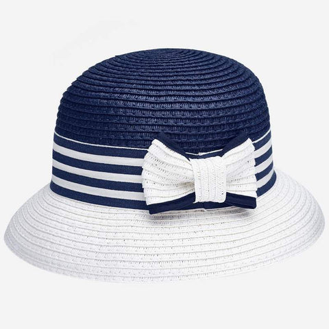 10816 Mayoral Girls Navy & White Raffia Straw Hat w/Bow