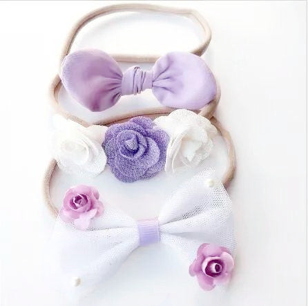Handmade Nylon, No Snag Headband / Pony Tail Ties - Lavender & Blooms