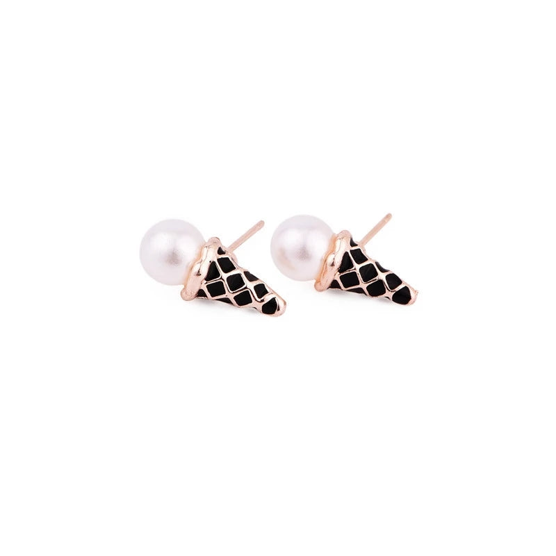 Earrings for Pierced Ears, Enamel & Faux Pearl Ice Cream Cones, Black