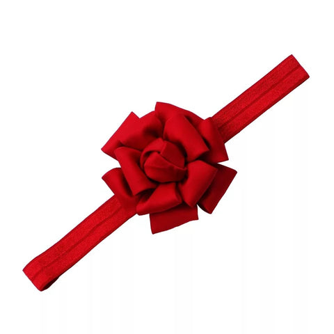 "2.5"" Matte Silk Flower Elastic Headband, Non-Pinching, Festive Red"