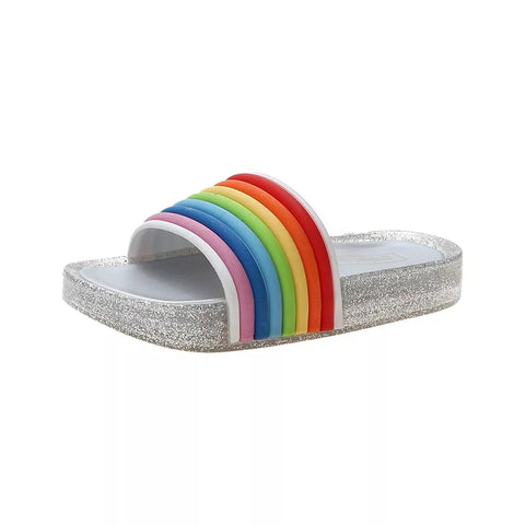 LED Light Up Jelly Slides, Rainbow & Silver