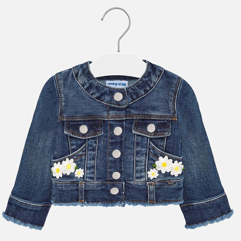 1471 Mayoral Little Girls Dark Wash Denim Jacket, Daisy Embroidered Appliques