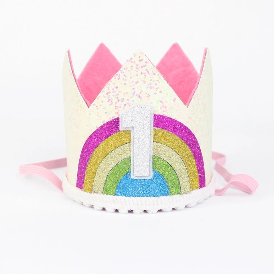 First Birthday Crown, Headband, Rainbow