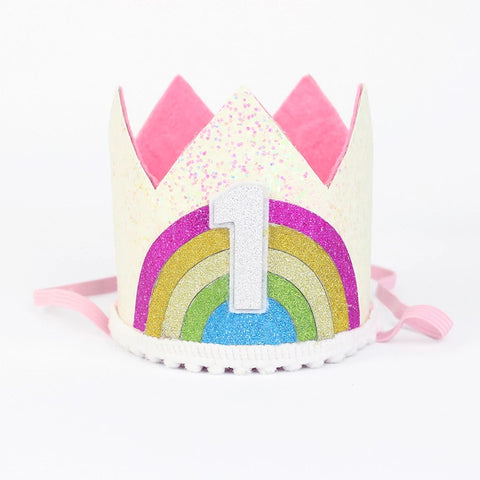 1st Birthday Crown, Headband, Rainbow