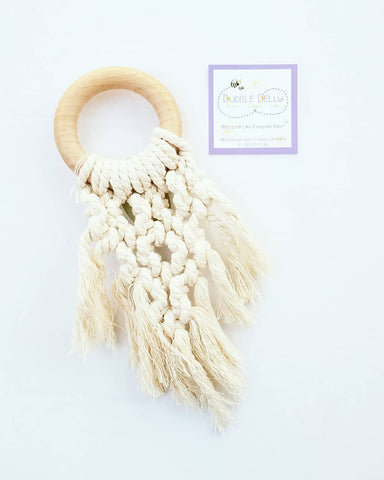 Chew/Teething Accessory - Macrame & Wood Chew & Teething Ring, Natural