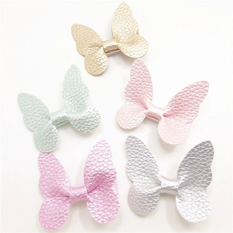Butterfly Non-Slip Handmade Hairclips, Metallic Leather